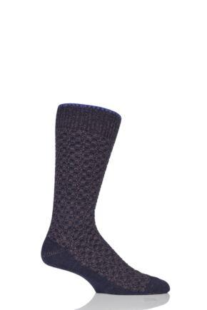 Mens 1 Pair Falke Bed Rock Virgin Wool Textured Squares Socks