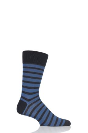 Mens 1 Pair Falke Even Stripe Cotton Socks