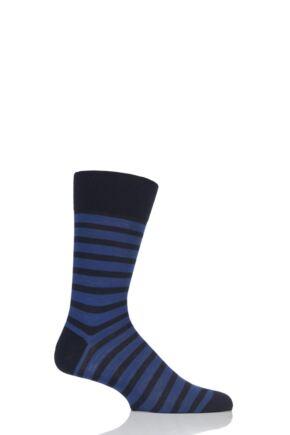 Mens 1 Pair Falke Even Stripe Cotton Socks Black / Blue 39-42