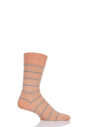 Mens 1 Pair Falke Striped Wash Cotton Socks Active Apricot 43-46
