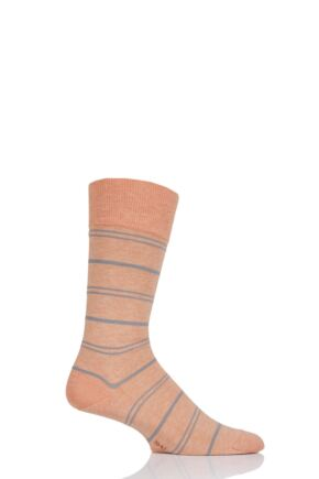 Mens 1 Pair Falke Striped Wash Cotton Socks Active Apricot 39-42