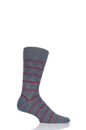 Mens 1 Pair Falke Striped Wash Cotton Socks