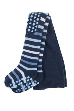 Baby Boys and Girls 1 Pair Falke Multi Stripe Tights with Grips Navy 62-68
