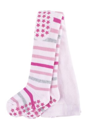 Baby Boys and Girls 1 Pair Falke Multi Stripe Tights with Grips Pink 74-80