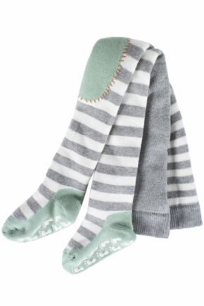 Babies 1 Pair Falke Stripey Crawler Tights Light Grey 62-68