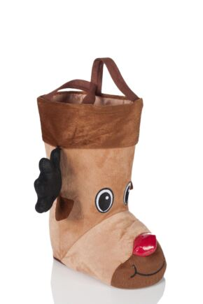 SockShop 3D Rudolph Christmas Stocking Bag Brown