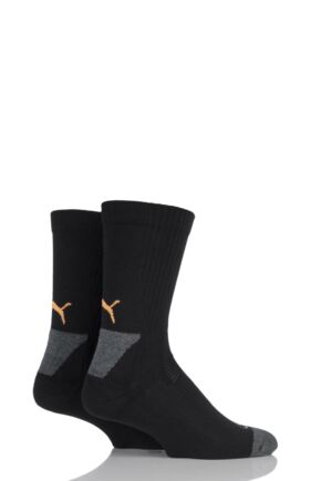 Mens and Ladies 2 Pair Puma DryCELL Multi Sports Mid-Weight Crew Socks Black 6-8