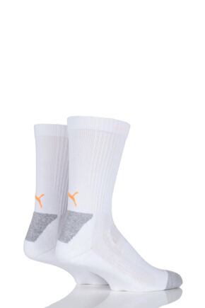 Mens and Ladies 2 Pair Puma DryCELL Multi Sports Mid-Weight Crew Socks White 9-11