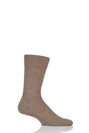 Mens 1 Pair Falke Bristol Pure Merino Wool Business Socks Nutmeg Melange 45-46