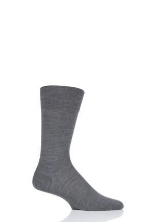 Mens 1 Pair Falke Sensitive Berlin Virgin Wool Left and Right Socks With Comfort Cuff Dark Grey 5.5-8 Mens