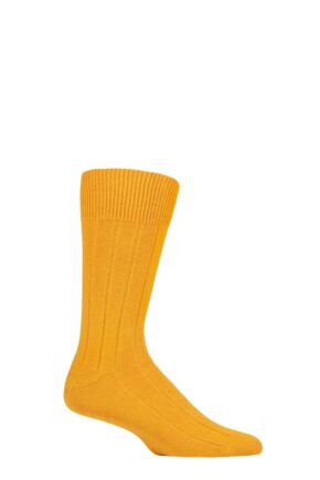Mens 1 Pair Falke Lhasa Rib Cashmere Blend Casual Socks Mustard Yellow 8.5-11 Mens