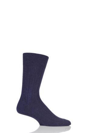 Mens 1 Pair Falke Lhasa Rib Cashmere Blend Casual Socks Tanzanite 39-42