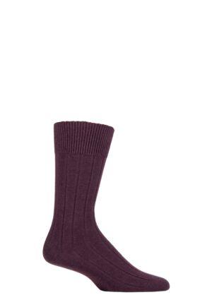 Mens 1 Pair Falke Lhasa Rib Cashmere Blend Casual Socks Plum Purple 8.5-11 Mens
