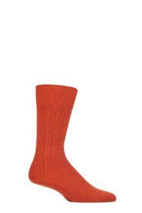 Mens 1 Pair Falke Lhasa Rib Cashmere Blend Casual Socks Rust Orange 5.5-8 Mens