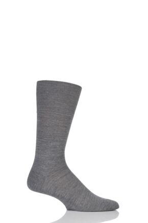 Mens 1 Pair Falke Airport Plain Virgin Wool and Cotton Business Socks Dark Grey Melange 47-48