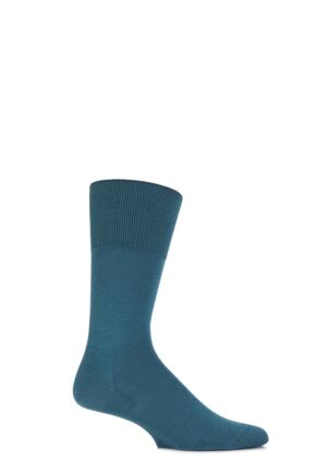 Mens 1 Pair Falke Airport Plain Virgin Wool and Cotton Business Socks Sherwood Pine 41-42