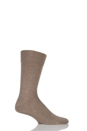 Mens 1 Pair Falke Sensitive London Cotton Left and Right Socks With Comfort Cuff Nutmeg Melange 39-42