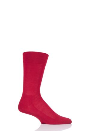 Mens 1 Pair Falke Sensitive London Cotton Left and Right Socks With Comfort Cuff Scarlet 5.5-8 Mens