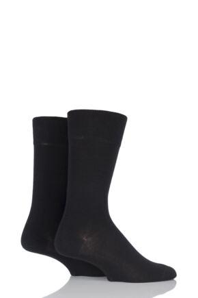 Mens 2 Pair Falke Swing Plain Cotton Socks Black 43-46