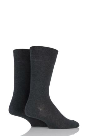 Mens 2 Pair Falke Swing Plain Cotton Socks Anthracite Melange 43-46