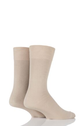 Mens 2 Pair Falke Swing Plain Cotton Socks Sand 39-42