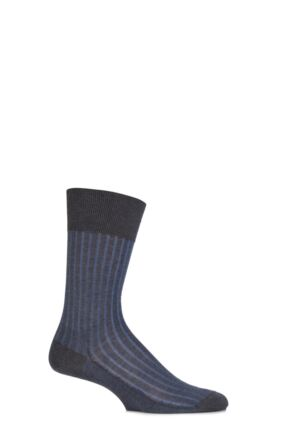 Mens 1 Pair Falke Shadow 100% Fil d'Ecosse Cotton Ribbed Socks Anthracite Melange / Blue 45-46