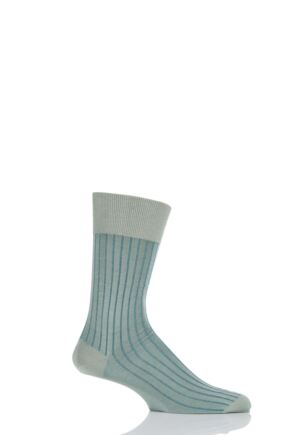 Mens 1 Pair Falke Shadow 100% Fil d'Ecosse Cotton Ribbed Socks Green 43-44