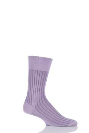 Mens 1 Pair Falke Shadow 100% Fil d'Ecosse Cotton Ribbed Socks Pink 45-46