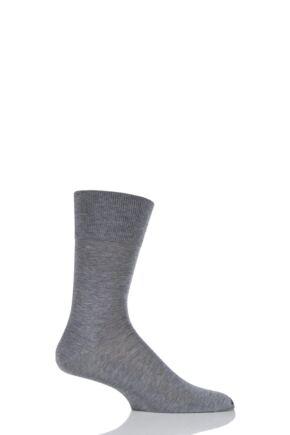 Mens 1 Pair Falke Tiago Classic Fil d'Ecosse Mercerised Cotton Socks Light Grey Melange 41-42