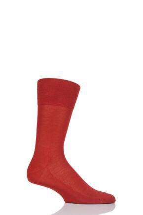 Mens 1 Pair Falke Tiago Classic Fil d'Ecosse Mercerised Cotton Socks Red 43-44
