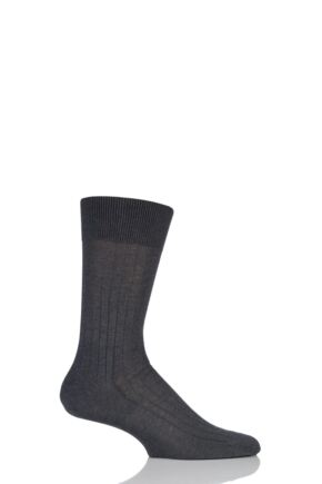 Mens 1 Pair Falke Milano Rib 97% Fil d'Ecosse Cotton Socks Anthracite Melange 45-46
