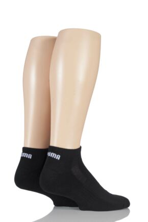 Mens and Ladies 2 Pair Puma Sneaker Socks Black 6-8.5