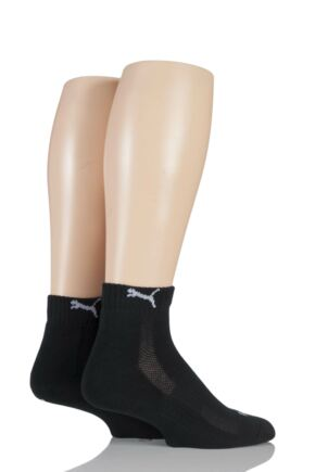 Mens and Ladies 2 Pair Puma Quarter Socks Black 9-11