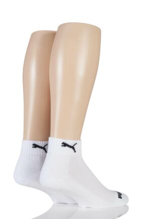 Mens and Ladies 2 Pair Puma Quarter Socks White 9-11