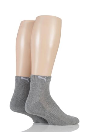 Mens and Ladies 2 Pair Puma Quarter Socks Grey 9-11