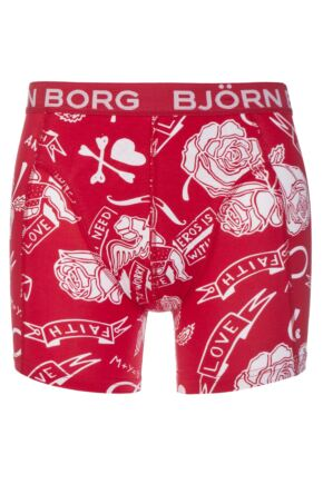 Mens 1 Pair Bjorn Borg Valentine Tattoo Boxer Shorts Red S
