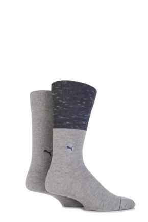 Mens 2 Pair Puma Colour Block Cotton Socks