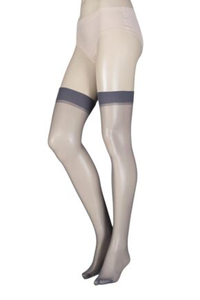 Ladies 1 Pair Elle Stockings 15 Denier 100% Nylon French Grey