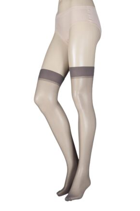 Ladies 1 Pair Elle Stockings 15 Denier 100% Nylon Mid Grey