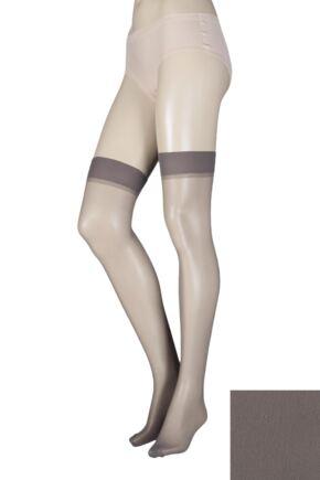 Ladies 1 Pair Elle Stockings 15 Denier 100% Nylon Mid Grey