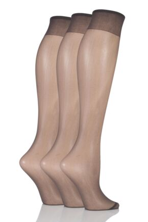 Ladies 3 Pair Elle 15 Denier 100% Nylon Knee Highs