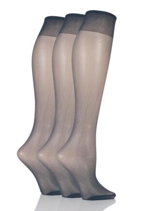 Ladies 3 Pair Elle 15 Denier 100% Nylon Knee Highs