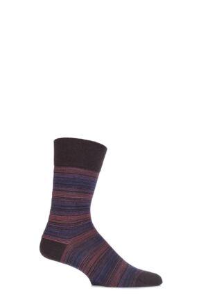 Mens 1 Pair Falke Sensitive Virgin Wool Narrow Multi Striped Socks