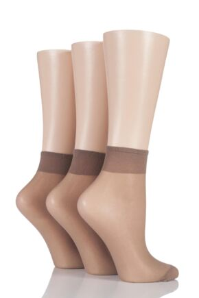 Ladies 3 Pair Elle 15 Denier 100% Nylon Ankle Highs