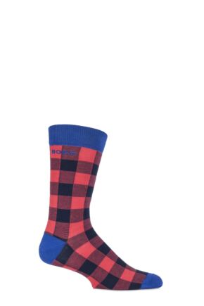 Mens 1 Pair Bjorn Borg Cotton Lumberjack Chequered Socks Cayenne 6-11