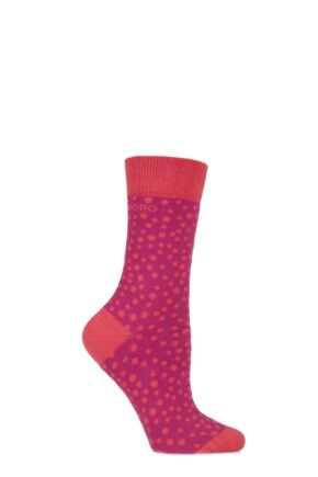 Ladies 1 Pair Bjorn Borg Cotton Native Spot Patterned Socks 33% OFF Very Berry 4-8