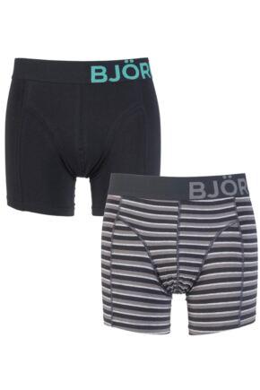 Mens 2 Pack Bjorn Borg Plain and Tracker Striped Cotton Boxer Shorts 25% OFF