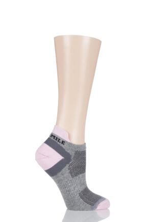 Ladies 1 Pair 1000 Mile Tactel Ultimate Technical Racing Trainer Socklet Grey / Pink LS