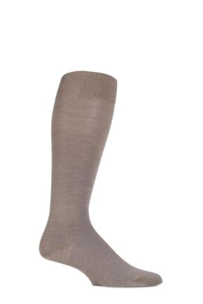 Mens 1 Pair Falke Merino Wool Energizing Knee High Socks Nutmeg Melange 43-44