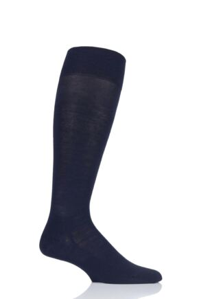 Mens 1 Pair Falke Sensitive London Cotton Left and Right Knee High Socks With Comfort Cuff